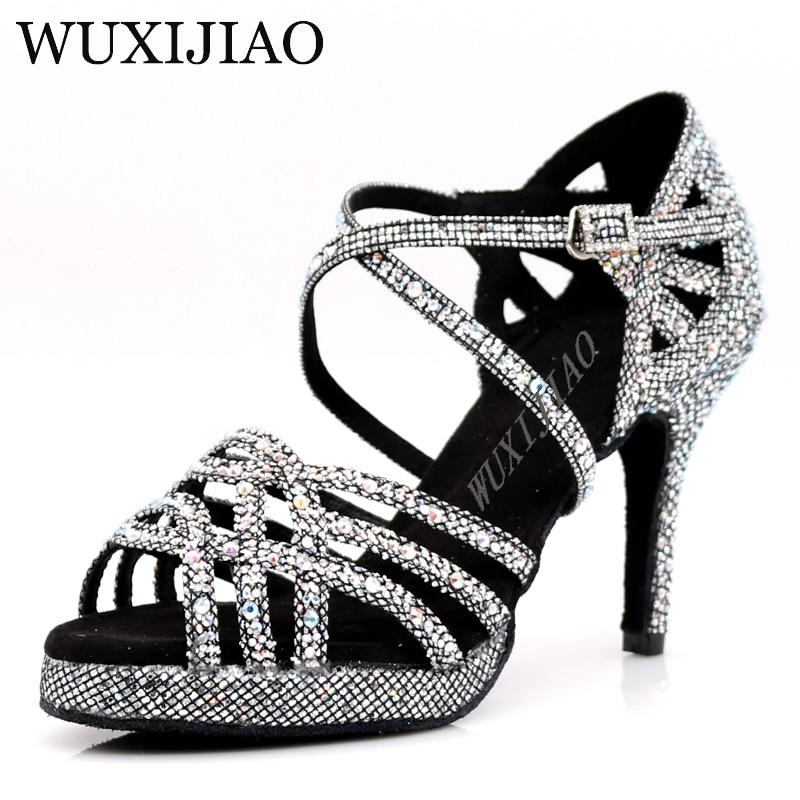 WUXIJIAO New Silver Black  Latin Dance Shoes Ladies Salsa Rhinestone Shoes Dance Ladies Ballroom Dance Shoes Heel 5cm-10cm