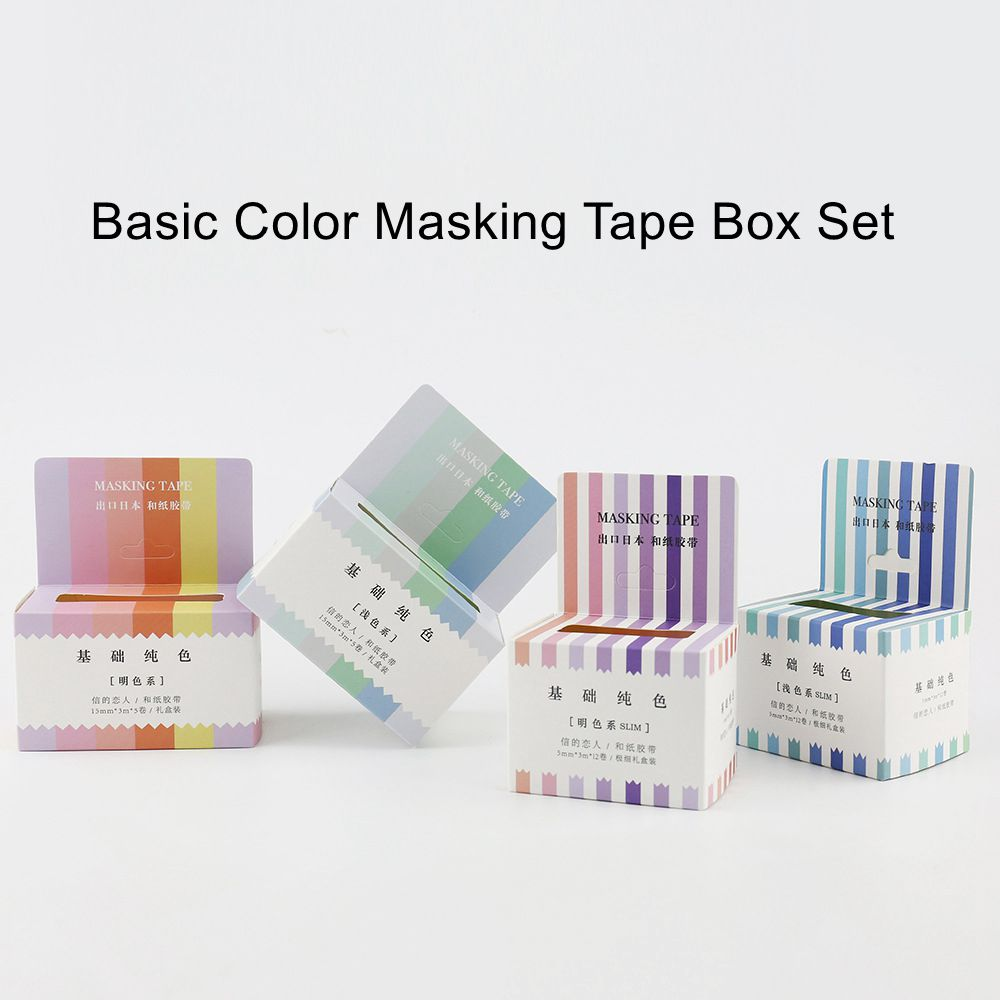 Basic color box masking tapes set pure color washi paper decoration tape DIY diary journal album supplies free shipping gift 24 colors 5mm 7m solid pure color slim diy paper scotch washi tape candy colorful decorative book masking tapes school supplies