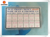 Free Shipping 60pcs Dust Proof 1 Microm Gold and Silver Watch Crown for Watch Repair