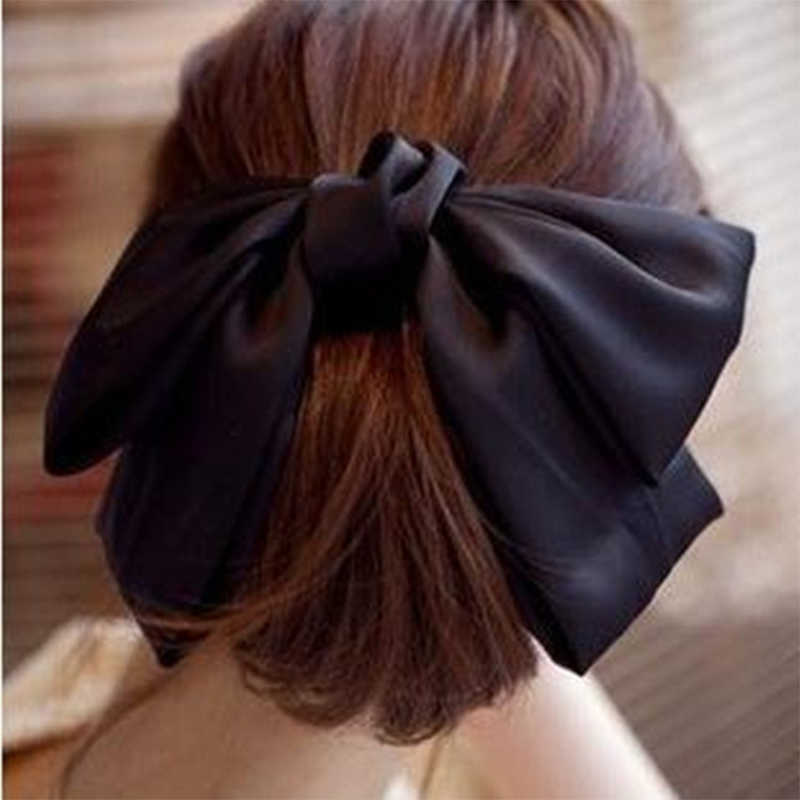 Fashion Solid Color Big Bow Hairpins Girls Lovely Popular Hair Clips For Women Hair Accessories Gift Red/Bule/Green/Black/Pink