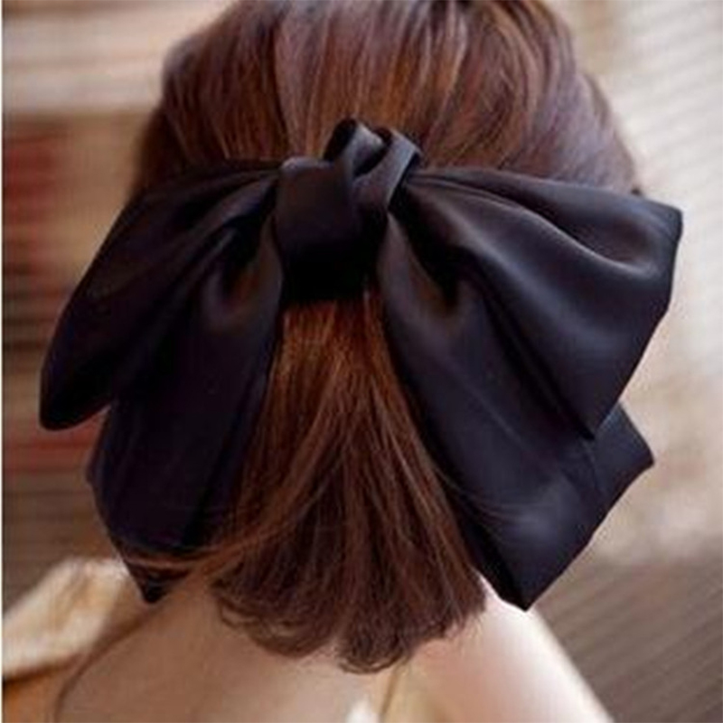 Fashion Solid Color Big Bow Hairpins Girls Lovely Popular Hair Clips For Women Hair Accessories Gift Red/Bule/Green/Black/Pink(China)