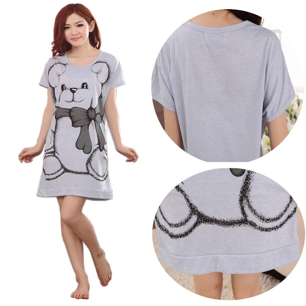 Summer vestidos Women's Nightgowns Sleeveless Short-sleeve Dress Cute Girls Cartoon Bear Sleepwear Drop ship # 2