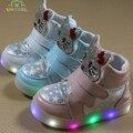 Дети Светящиеся Shoes Девушки Мультфильм Hello Kitty Кроссовки Со Светодиодной Подсветкой Мальчиков Освещенные Shoes Дети Причинные Ботинки Малышей Обуви