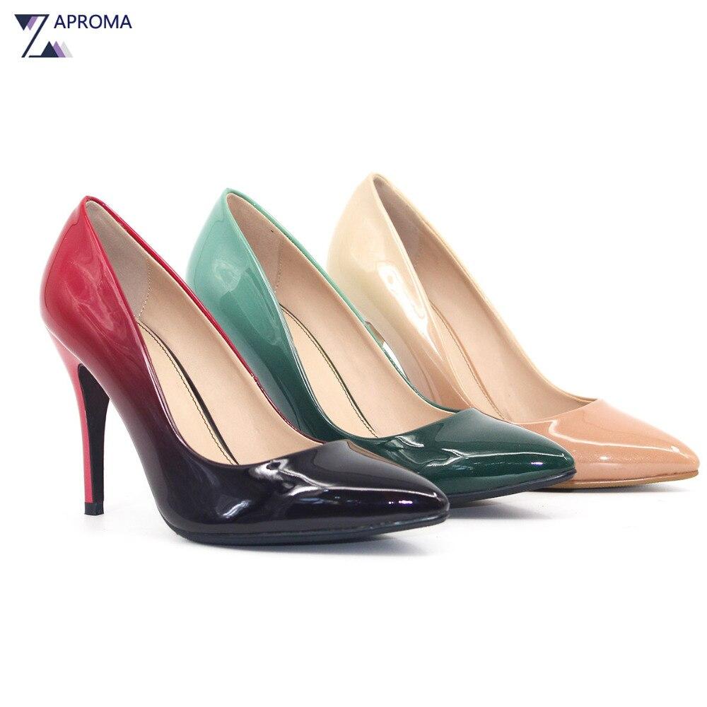 2018春女性のセクシーな靴赤緑ヌード勾配パンプス結婚式パーティーに滑る靴超高ヒールフェチ浅いレディース靴
