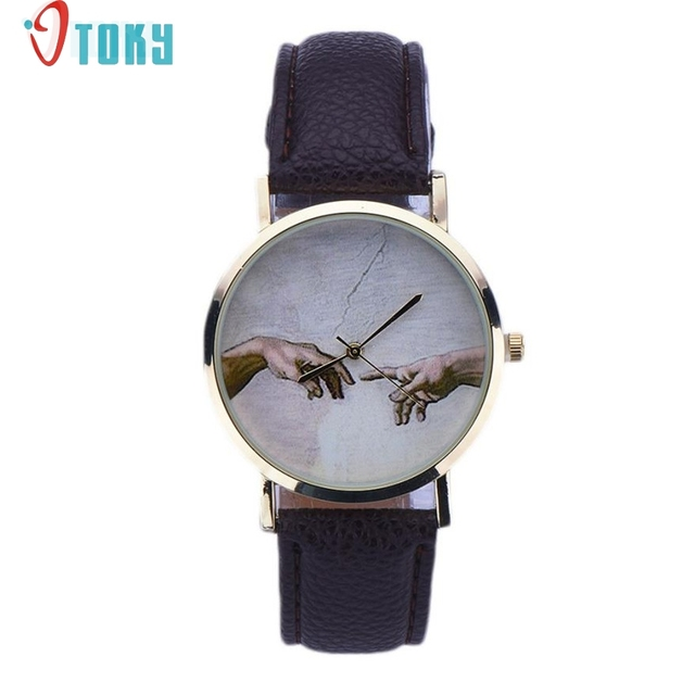 OTOKY Willby Art Pattern Women Lady PU Leather Quartz Wrist Watches 161213 Drop