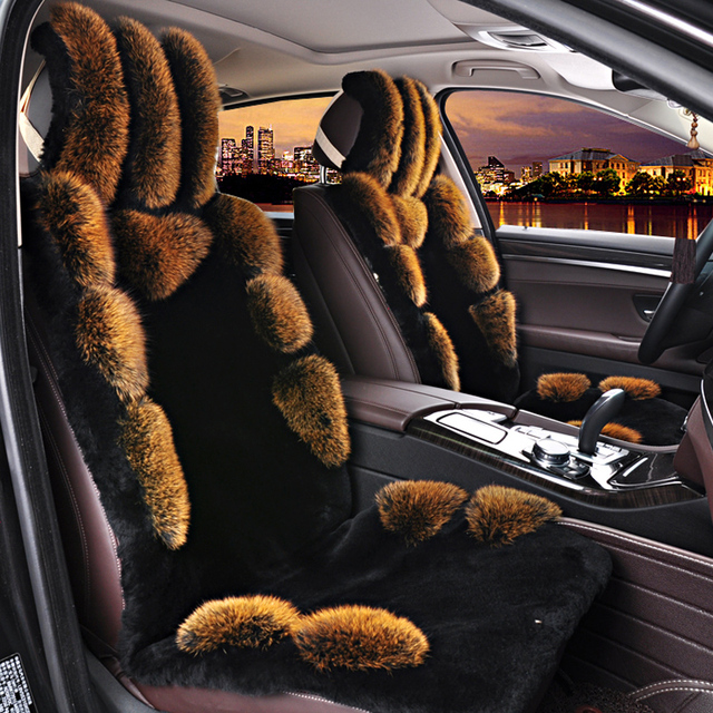 New Arrival Fox Skin And Wool Car Seat Cover Cushion Fashion Comfortable 5 Seats Covers