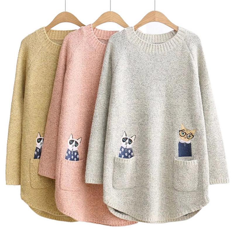 iSHINE Autumn Ladies Hot Sale Kitten Pattern Embroidery Loose Fit Pullover Long Knit Sweater Knit Sweater Women Sweater