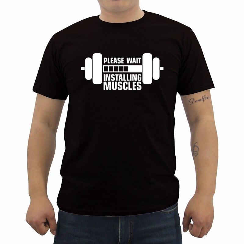 Установка мышцы печатные забавные Для мужчин футболка новые летние Повседневное битник хлопок высокое качество футболки хип-хоп Футболка ...