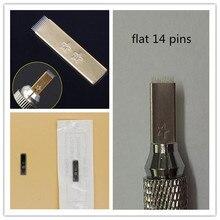 50 Pcs Flat 14 Pins Needles For Permanent Makeup Manual Pen Use For Fog Eyebrow Tattoo