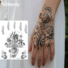 1sheet Black And White Henna Fake Lace Tattoo Stickers Metallic Temporary Flash Tattoos Arabic Indian Trendy S1013B