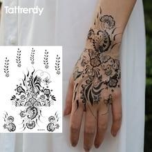 1sheet Black And White Henna Fake Lace Tattoo Stickers Metallic Temporary Flash Tattoos Arabic Indian Trendy S1013B
