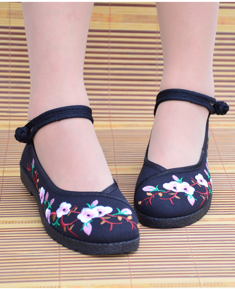 Fashion 2017 Old Peking Cloth Shoes, Chinese Style Totem Flats Mary Janes Embroidery Casual Shoes, Red+Black Women Shoes S189 (14)