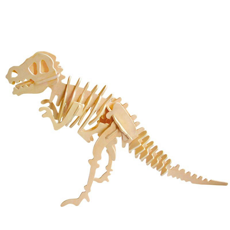 Robotime Kids Gift 6 Kinds Dinosaur T-Rex DIY 3D Wooden Puzzle Handmade Educational Toys for Children JP