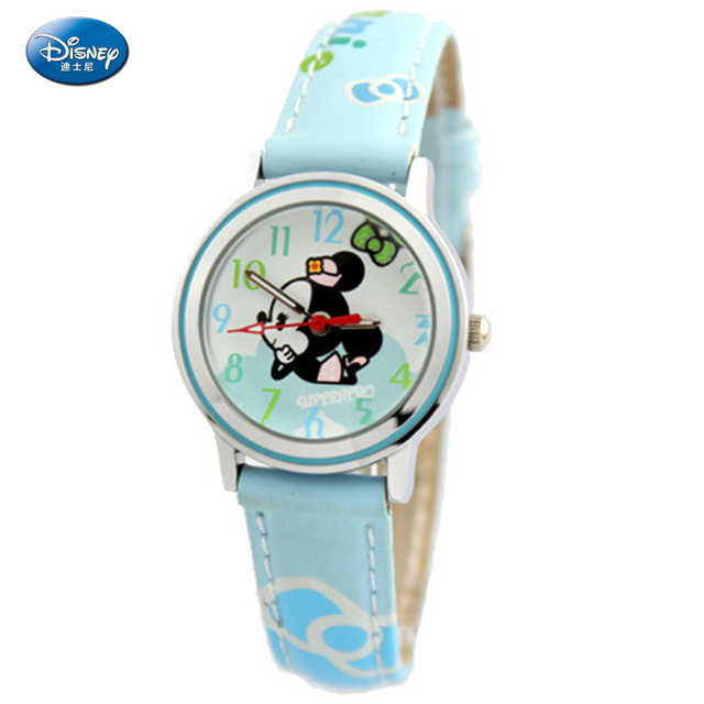 Disney Fashion Brand Children's Watches Alloy Mickey Designs Casual Leather Quartz Watch