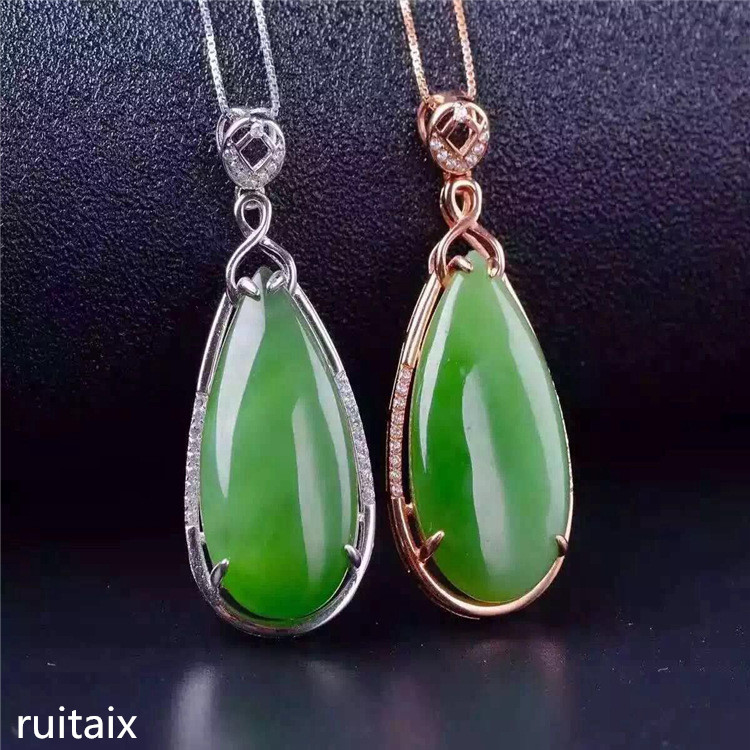 KJJEAXCMY boutique jewels S925 Pure silver inlay natural jade lady pendant + necklace money bag drop jewelry plant leaves
