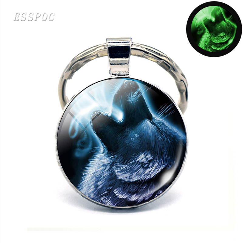 Glowing In The Dark Wolf Head Keychain Men Glass Cabochon Key Chain Key Rings Howling Wolf Pendant Luminous Wolf Jewelry