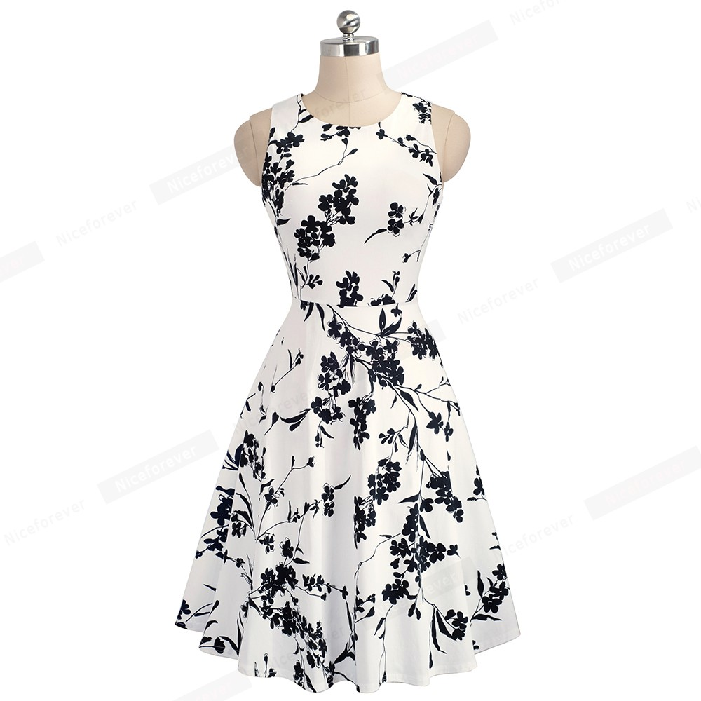 Nice-forever Vintage Elegant Embroidery Floral Lace Patchwork vestidos A-Line Pinup Business Women Party Flare Swing Dress A079 143
