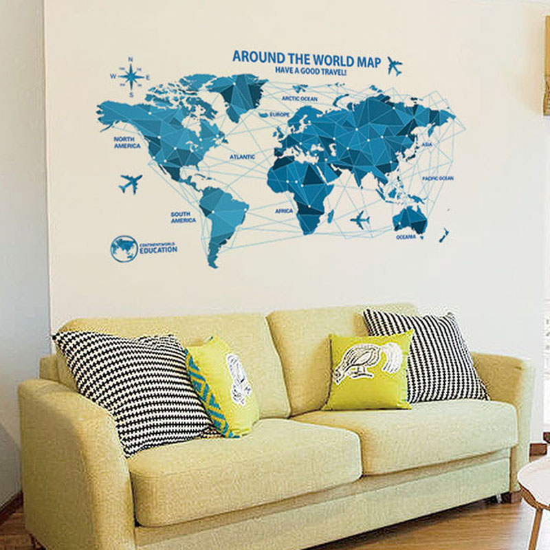 Creative world Map Wall Stickers Science Technology Origami Map Wall ...
