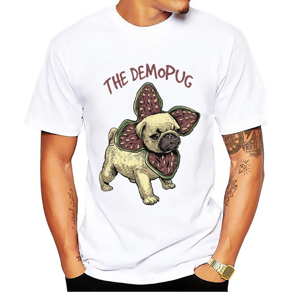 Tops & Tees Chomper Demogorgon Demopug Democorgi Demopuppy Funny Tshirt Men New White Casual Homme Stranger Thing Pug Corgi T Shirt