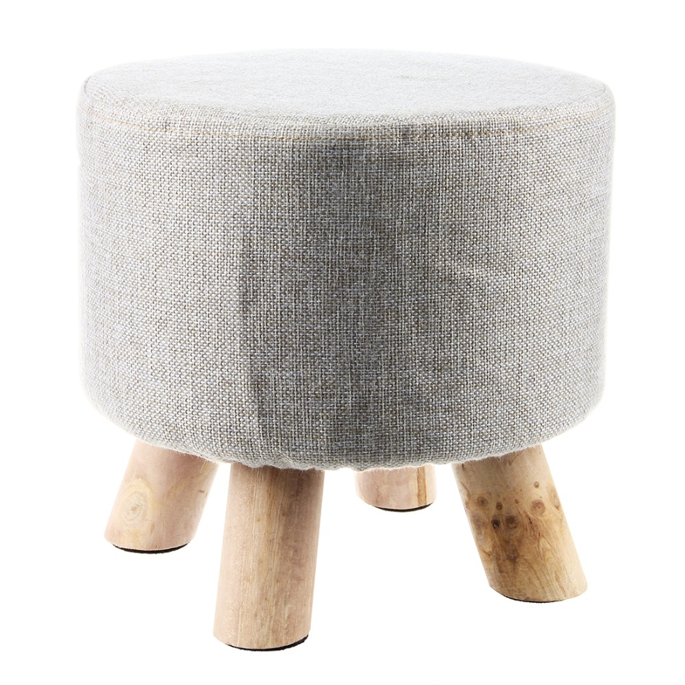 Grey (4 Legs) Modern Upholstered Footstool Round Pouffe Stool + Wooden Leg Pattern:Round Fabric