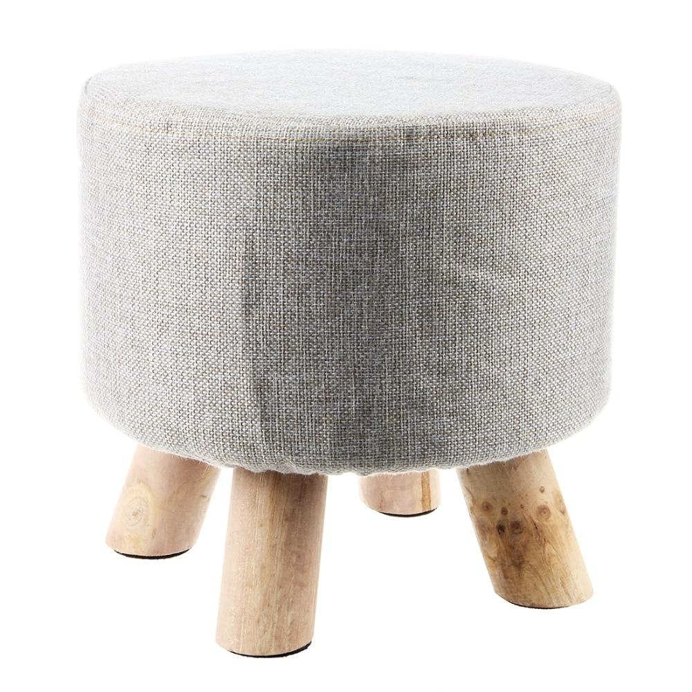 Grey (4 Legs) Modern Upholstered Footstool Round Pouffe Stool + Wooden Leg Pattern:Round FabricGrey (4 Legs) Modern Upholstered Footstool Round Pouffe Stool + Wooden Leg Pattern:Round Fabric