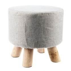 Серый (4 ноги) современный обитый стул для ног круглый пуфик-табурет + деревянные ноги узор: круглый ткань