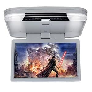 Image 2 - DVD плеер 15,6 дюймов FHD 1080P Автомобильный Монитор крыша с HDMI портом/USB/SD встроенный ИК/FM передатчик откидной потолочный ТВ для автомобиля