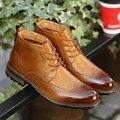 Nuevos Zapatos Para Hombre 2017 de La Moda de Primavera Hombres de Alta-Top Zapatos Casuales Negro/Marrón Zapatos Brogue cordones Zapatos de Cuero de Negocios masculino Otoño