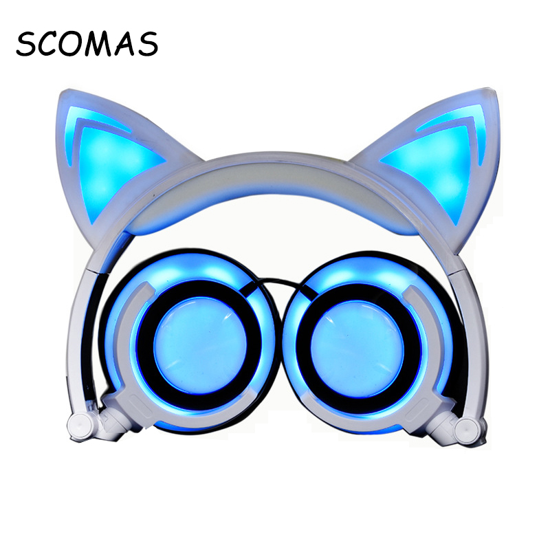 SCOMAS Chargable Headphones Headfone for Girls Glowing Ear Headphone Wired for PC Mobile Headset Head Phones for Music Sport