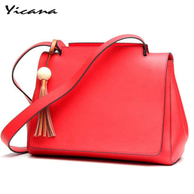 Yicana hot fashion 3 colors  Cow Leather handbag women's large capacity of Tassel wide shoulder straps bag