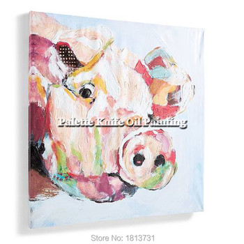 Modern abstract hand-painted oil painting the sitting room adornment animal pig