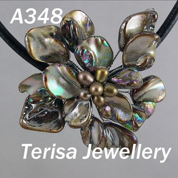 Идеальное ожерелье в виде цветка из натуральной раковины, белое ожерелье из пресноводного жемчуга, ювелирные изделия из черной кожи, новинка - Окраска металла: brown shell flower