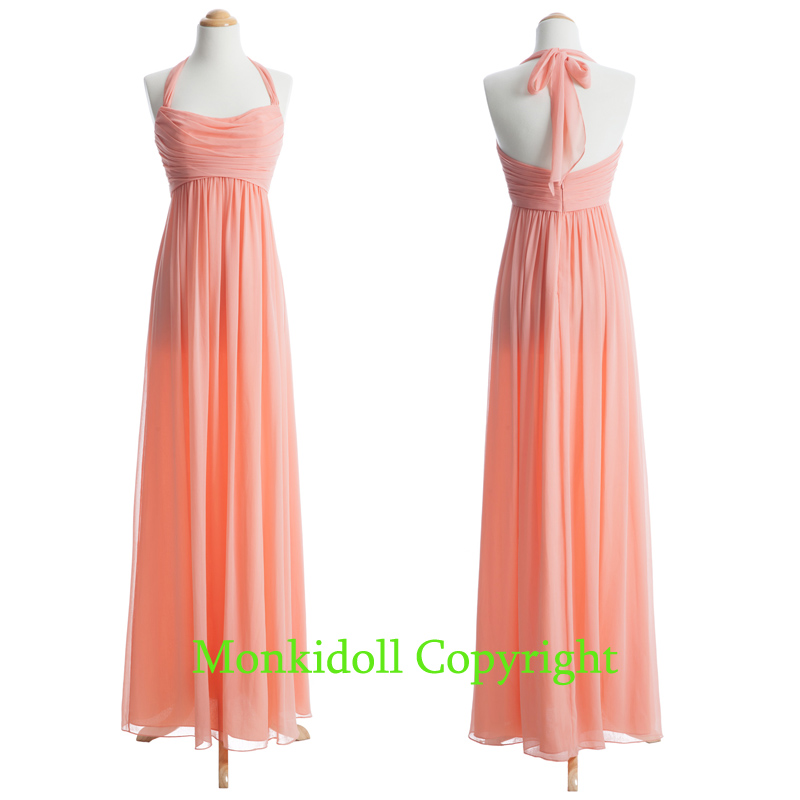 Discount Peach   Bridesmaid     Dresses   2019 Halter Ruched Chiffon Cheap Long   Bridesmaid     Dress   Bohemian Wedding Guest Gown Feestjurken