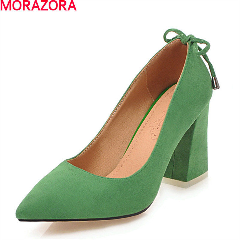 MORAZORA new arrival pu leather shoes woman pumps pointed toe simple work shoes elegant solid high heels shoes big size 34-46 flats man loafers shoes pointed toe high quality big size 46 39 black white orange slip on pu leather new arrival 2017 ephemeral