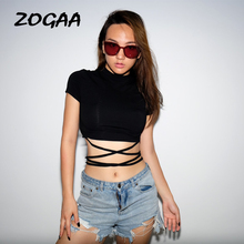 ZOGAA 2019 Sexy Party Women T Shirts Tops Fitness Short Sleeve Crop Streetwear Black Lace Up Harajuku