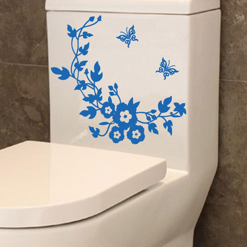 New Qualified Dropship Flower Toilet Seat Wall Sticker Bathroom Decoration Decals Decor Butterfly Mural OC30