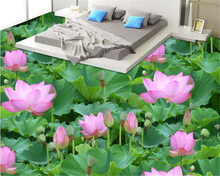 beibehang papel de parede High definition three-dimensional painting  lotus leaf pond flower plant floor wallpaper for walls 3d