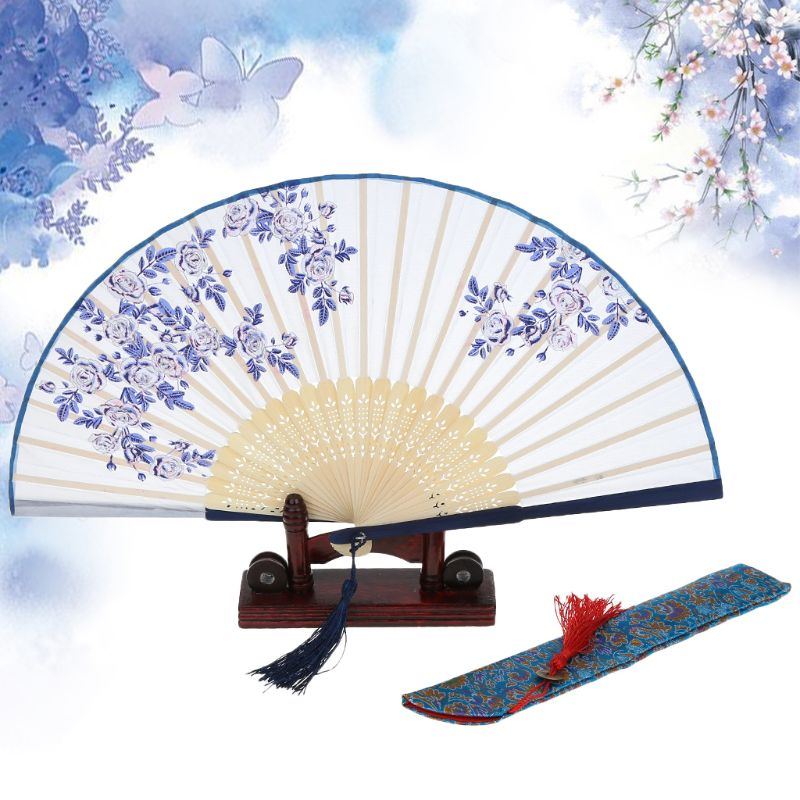 Vintage Chinese Japanese Hollow Folding Bamboo Wooden Carved Hand Fan Gif Best