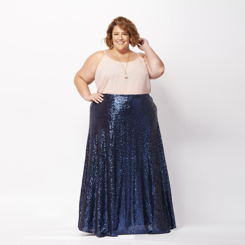 Plus Size Royal Blue Sequins Long Skirt High Waist Floor Length Maxi Skirt Sequined Bodycon Mermaid Women Skirt Custom Made
