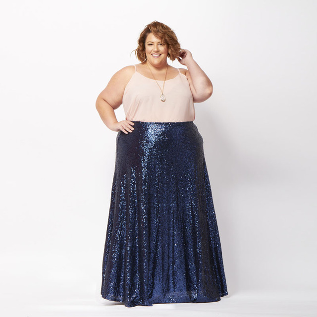 47cd3b37f77 Plus Size Royal Blue Sequins Long Skirt High Waist Floor Length Maxi Skirt  Sequined Bodycon Mermaid Women Skirt Custom Made