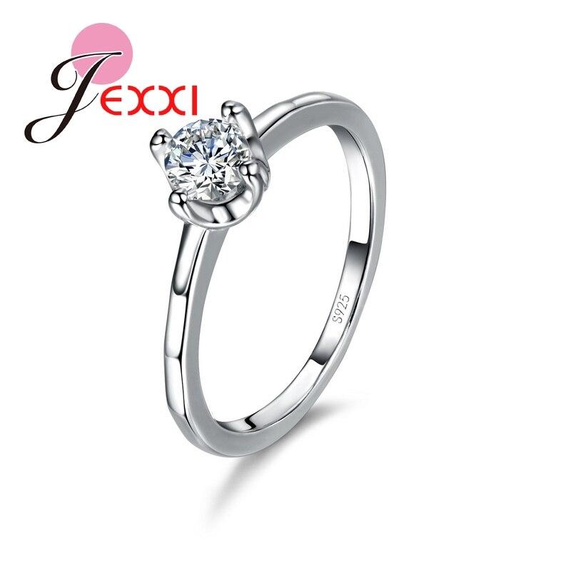 3d5b145102cc JEXXI clásica mujer Boda nupcial anillo de Plata de Ley 925 con ronda de  circón cúbico CZ joyas de cristal