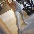 2016New women fashion slim hole sporting Leggings Fitness leisure sporting feet sweat pants black gray navy blue hollow trousers