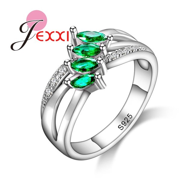 JEXXI Women Girl Best Gifts S90 Silver Ring for Women Green Stone Branch Leaf Ri