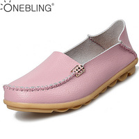 Summer Candy Colors Genuine Leather Women Casual Shoes 2016 Fashion Breathable Slip On Peas Massage Flat