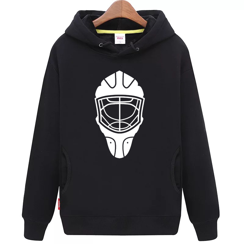 JETS Free Shipping Cheap Youth black Hockey Hoodie with Mask Pattern