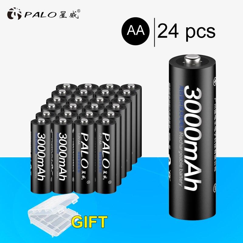 24 pcs PALO NI-MH 1.2 V 3000 mAh AA Rechargeable Batteries 3000 mAh Batterie de haute qualité Pour jouets caméras lampes de poche Calaculators