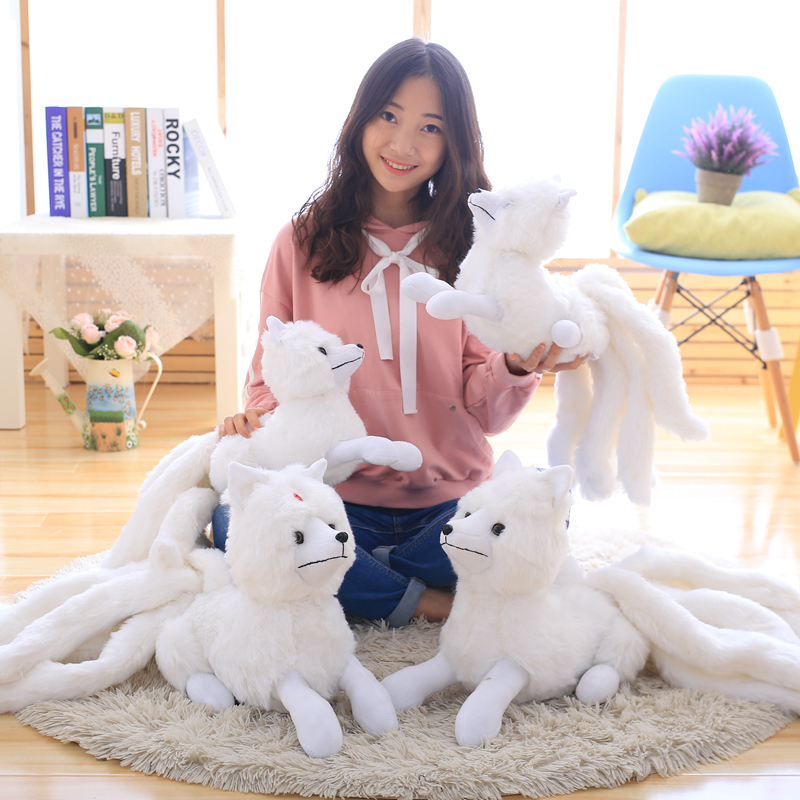 1PCS Simulation White Nine-Tailed Fox Plush Toy Stuffed Fox Animal High Quality Gumiho Birthday Gift Toy Home Decor Kids Toy image