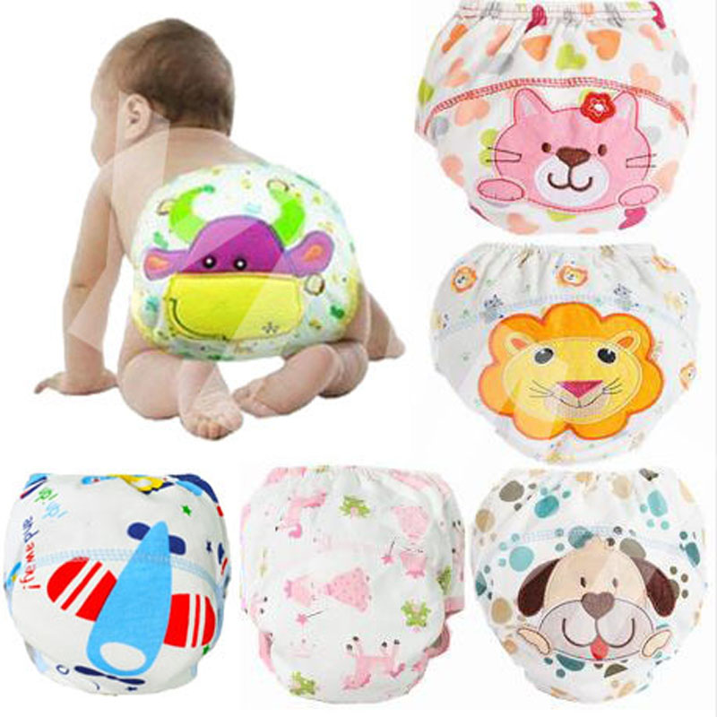 3Pcs Baby Training Pants Cotton Reusable Baby Diapers Waterproof Cloth Nappies Washable Diapers Bamboo Learning Pants
