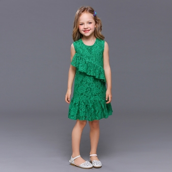 Summer children clothing kids girl evening party lace flounced slip dress mother daughter formal dress mommy me matching dresses