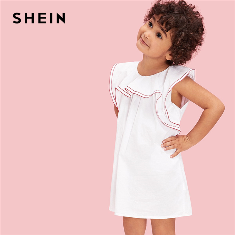 SHEIN Kiddie Girls Contrast Stitch Ruffle Trim Casual Tunic Dress Children 2019 Summer Sleeveless Button Back Cute Short Dresses plus knot open back ruffle trim bodysuit